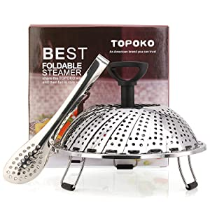 TOPOKO Vegetable Steamer Basket, Fits Instant Pot Pressure Cooker 5/6 QT and 8 QT, 18/8 Stainless Steel, Folding Steamer Insert For Veggie Seafood Cooking. (Steamer with Retractalbe Handle)