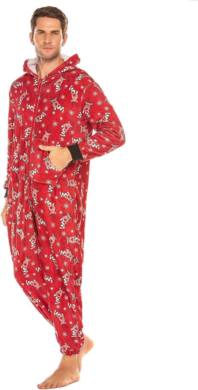 Ekouaer Family Matching Onesie Pajamas Christmas One Piece Fleece PJS Jumpsuit Parent-Child Hoodie Zipper Sleepwear