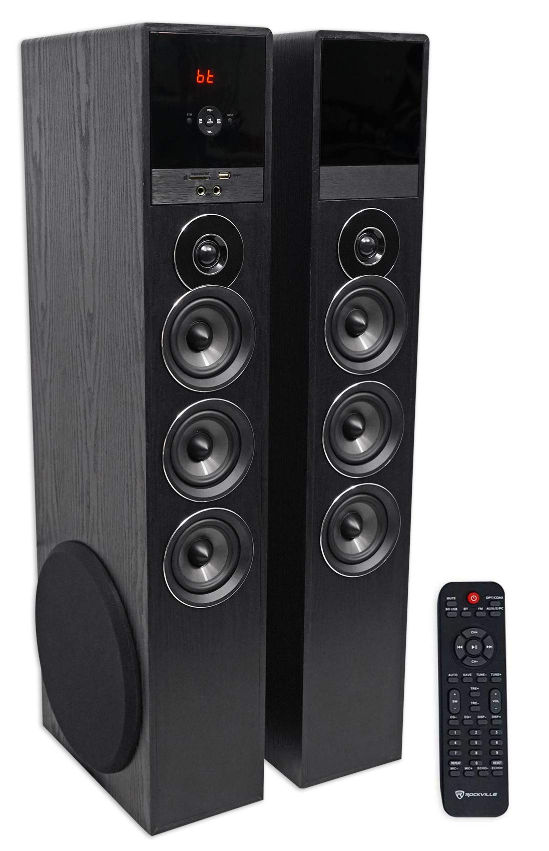Rockville TM150B Black Home Theater System Tower Speakers 10'' Sub/Blueooth/USB