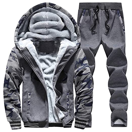 97552a6914b Image Unavailable. Image not available for. Color  Manluo Men s Winter  Sweatsuits Camo Sleeves Tracksuits Warm Fleece Sports Suits Jogging Hoodies  ...