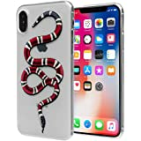 """iPhone X Red Snake Case: Luxury Transparent Durable Designer Womens Protective TPU Cover / Bumper / Skin / Cushion with Vivid Print Technology (fits 5.8"""" iPhone X only)"""