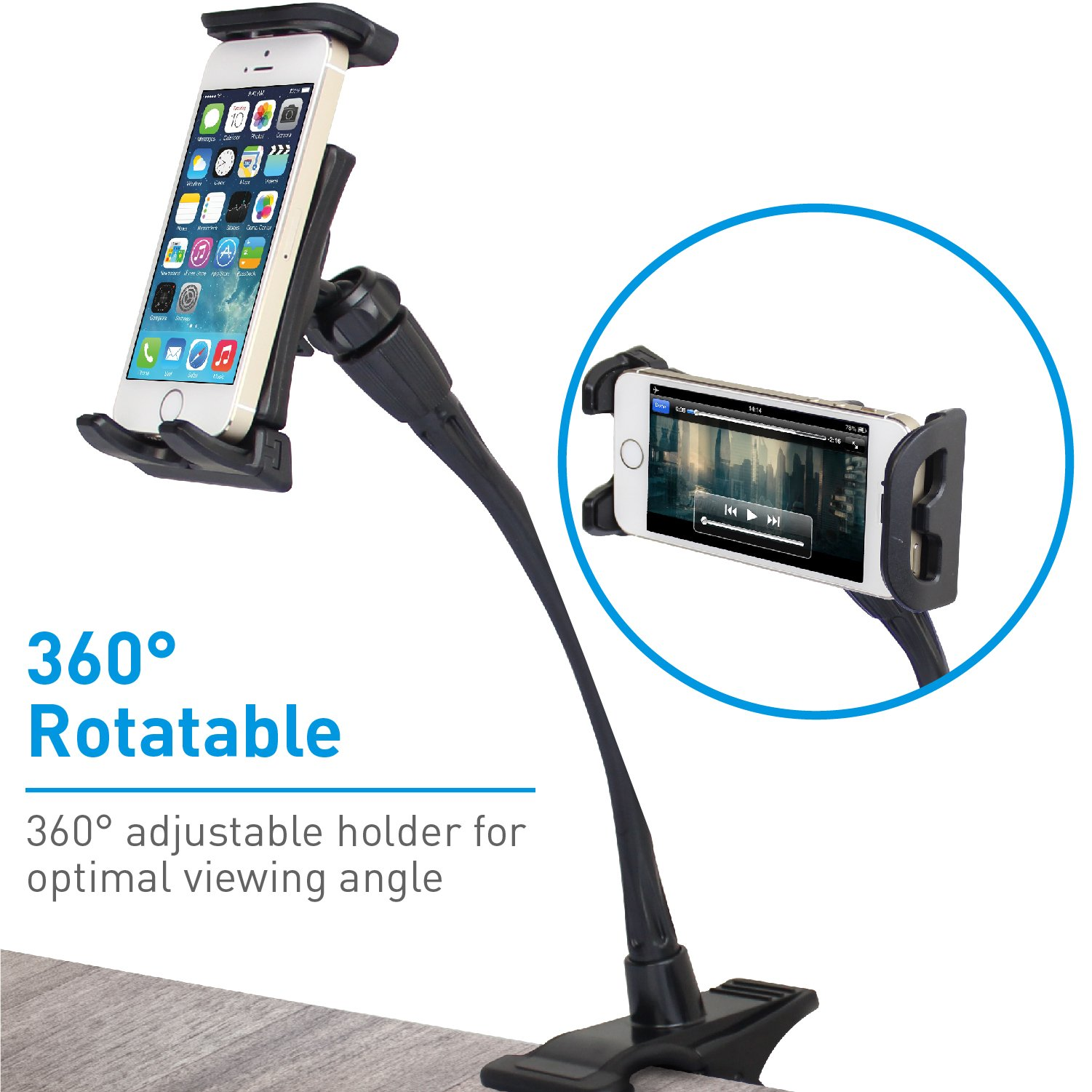 Macally Flexible and Adjustable Gooseneck Clip On Desk or Kitchen Table Holder Clamp Mount for iPad Air / Mini, Tablets, iPhone XS XS Max XR X 8 Plus, Moto Smartphones, & Nintendo Switch (ClipMount) by Macally (Image #5)