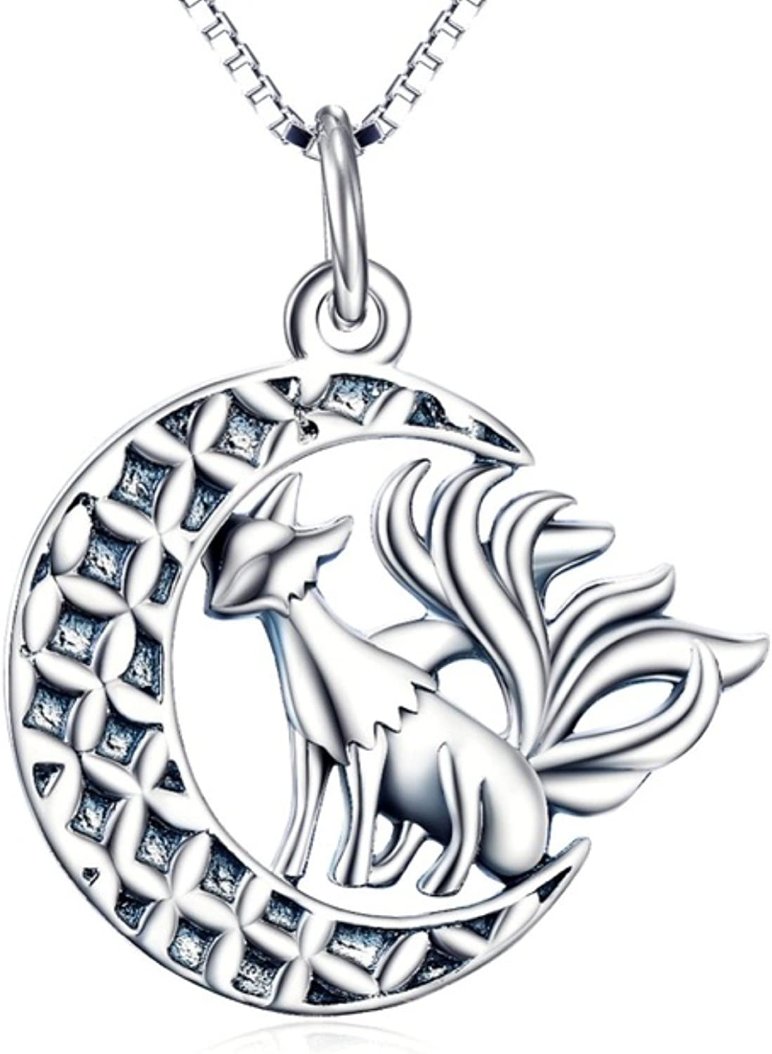 EverReena 925 Sterling Silver Necklace Crescent Moon With Animal Chain Pendant Nine Tailed Fox