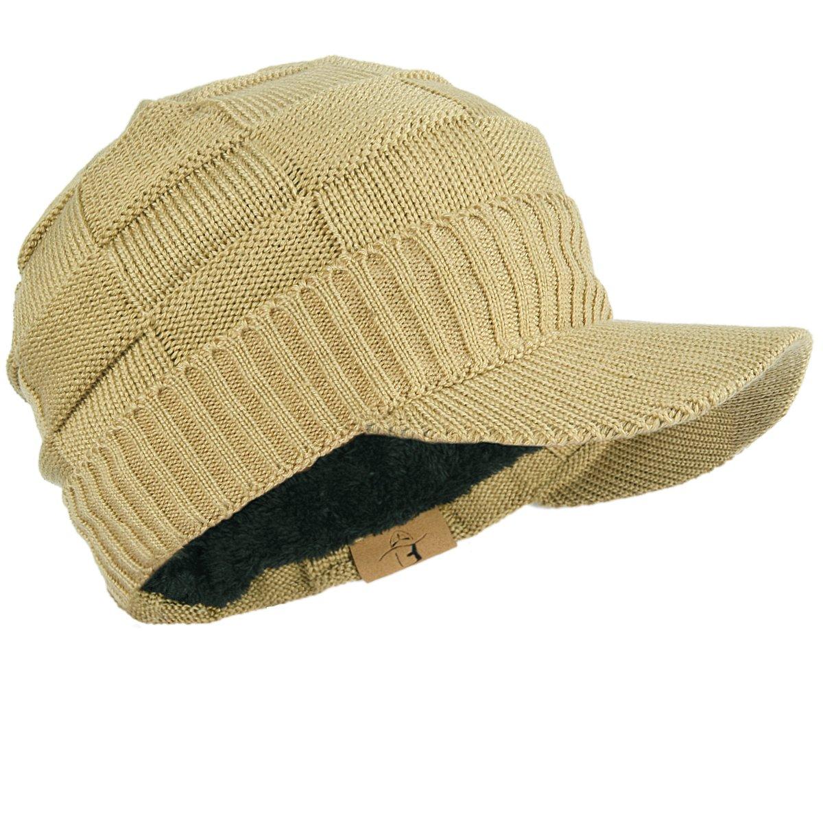 FORBUSITE Fleece Winter Knit Visor Beanie Cap for Men Women B322 B322-C-Black