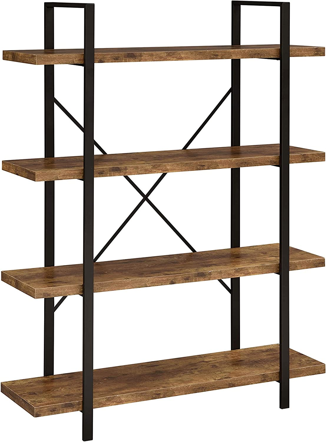Coaster Home Furnishings 4-Shelf Antique Nutmeg and Black Bookcase
