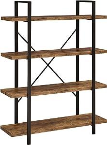 Coaster Home Furnishings 4-Shelf Antique Nutmeg and Black Bookcase
