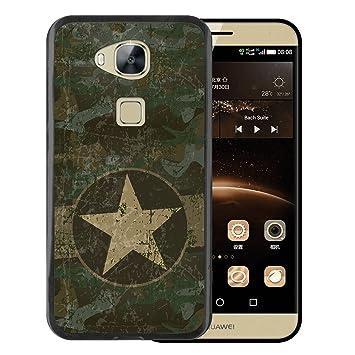 WoowCase Funda Huawei GX8 / G8, [Huawei GX8 / G8 ] Funda Silicona Gel Flexible Estrella Militar, Carcasa Case TPU Silicona - Negro