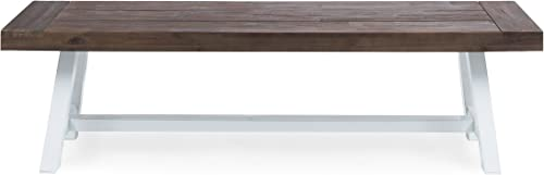 Cytheria Indoor Farmhouse Dark Brown Sandblast Finish Acacia Wood Dining Bench with White Rustic Metal Finish Frame