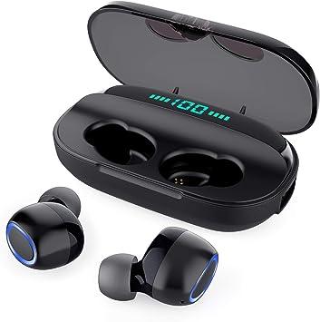 Écouteur Bluetooth sans Fil Micro, Tesecu Oreillettes Bluetooth [LCD 100% 0] 3000mAh Boîte de Charge Autonomie Réduction du Bruit CVC 8.0 Casque