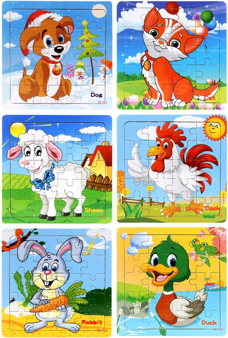 2x Plastic Building kids educational toy cartoon animal jigsaw puzzle game toy M