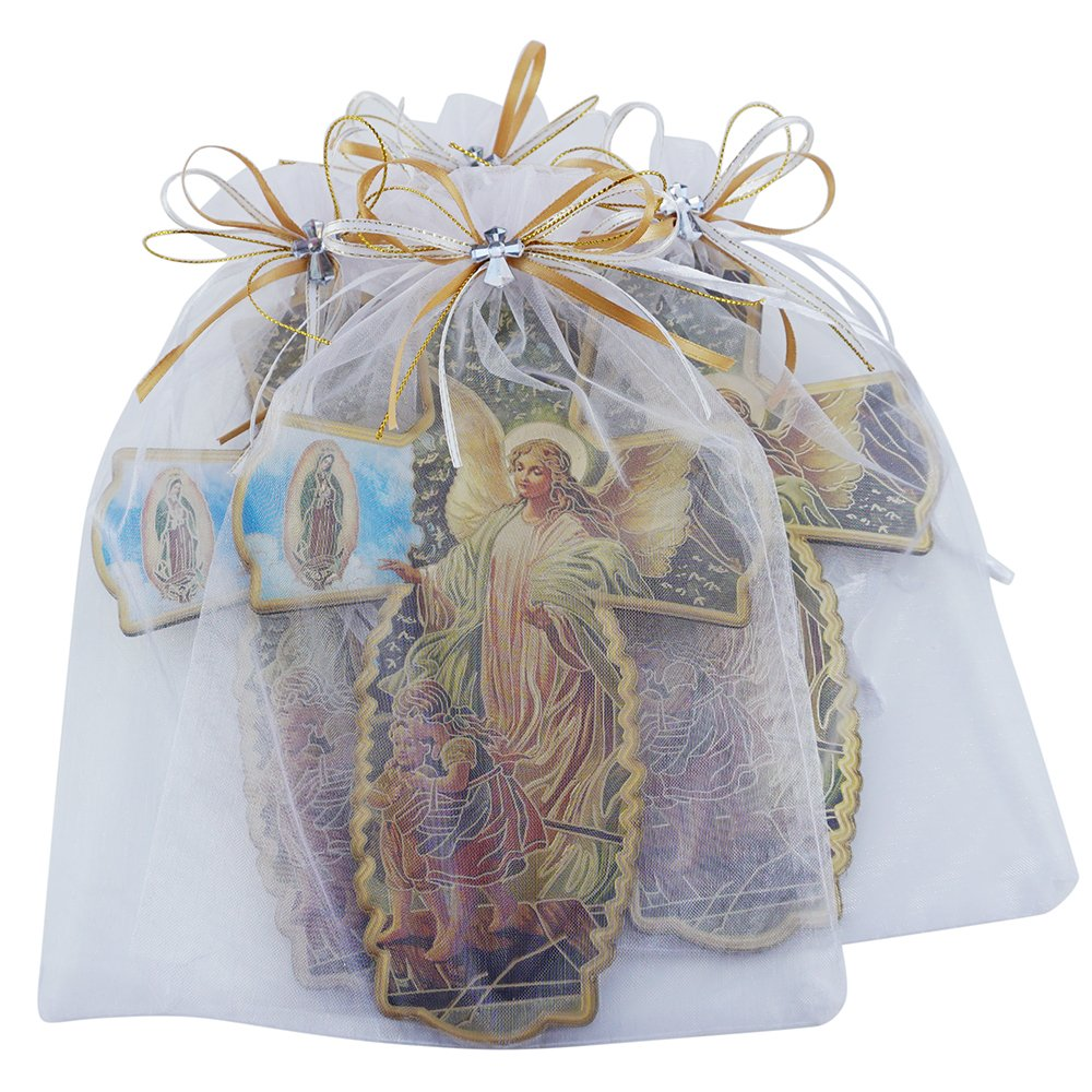Guardian Angel Wall Cross in Decorated Organza bag 12PCS Baptism favor /Christening Favor/ First Communion Favor