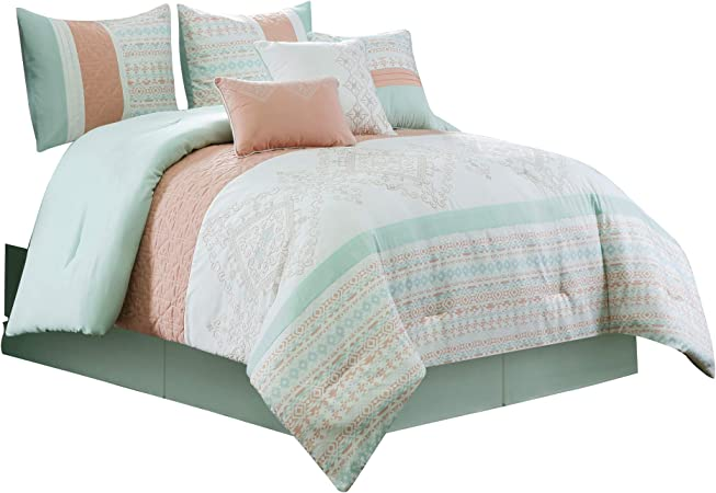 Chezmoi Collection Laura 7 Piece Coral Mint Geometric Embroidered Pleated Striped Comforter Set Full Home Kitchen