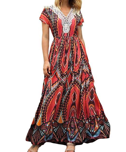 9fabb60b60d26 RSunshine Women Print Bohemian High Split Empire Waist V-Neck Short Sleeve Long  Maxi Dress