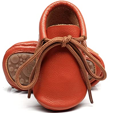 HONGTEYA Leather Baby Shoes Hard Sole Lace Up Solid Genuine Leather Girl Boys Handmade Toddler First