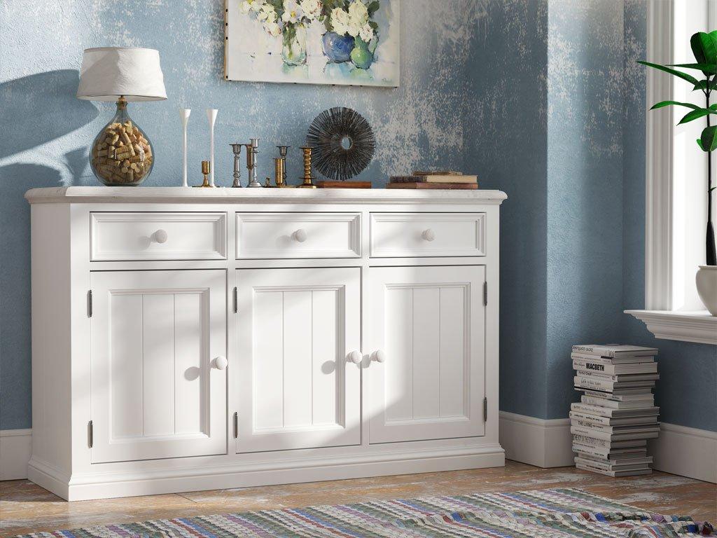 Kommode / Sideboard 02 massiv weiß lackiert - Abmessung: 90 x 152 x 47 cm (H x B x T)
