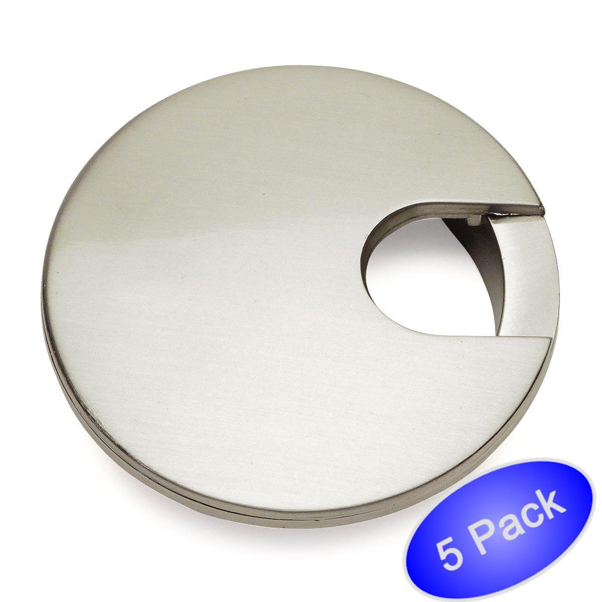 5 Pack - Cosmas 50203SN Satin Nickel 2-1/2'' Two Piece Zinc (Metal) Desk Grommet - 3'' Overall Diameter