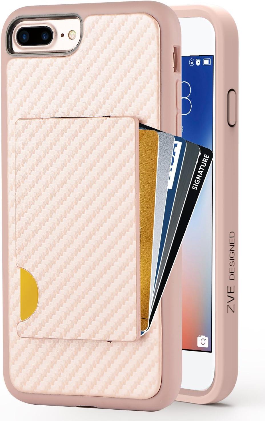 iPhone 7 Plus Wallet Case, iPhone 8 Plus Card Holder Case, ZVEdeng Protective Credit Card Case Carbon Fiber Card Grip Slim Wallet Case for Apple iPhone 7 Plus/8 Plus 5.5'' Rose Gold