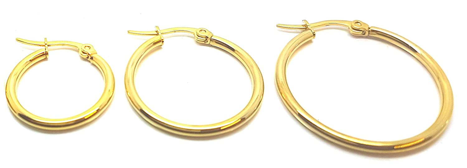 Vonchic 9ct Gold Plated Hinged Hoop Sleeper Creole Earrings 12mm 15mm 18mm fQqAIQGYaX