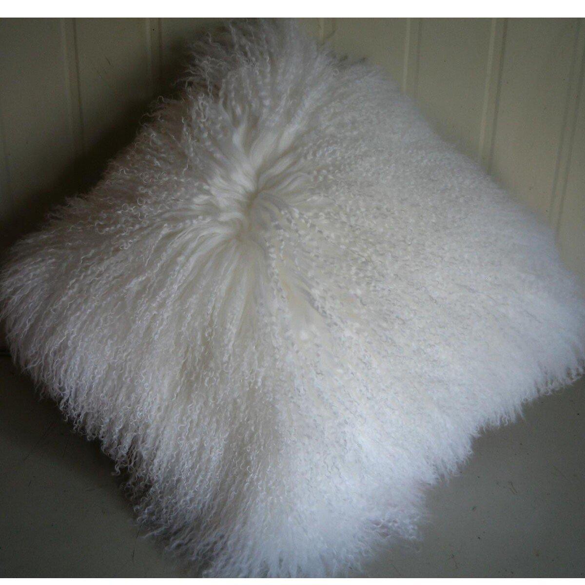 ROSE FEATHER Real 100% Tibetan Mongolian Lamb Sheepskin Wool Fur Super Soft Plush Leather Pillowcase Cushion Cover,White 24x24inch