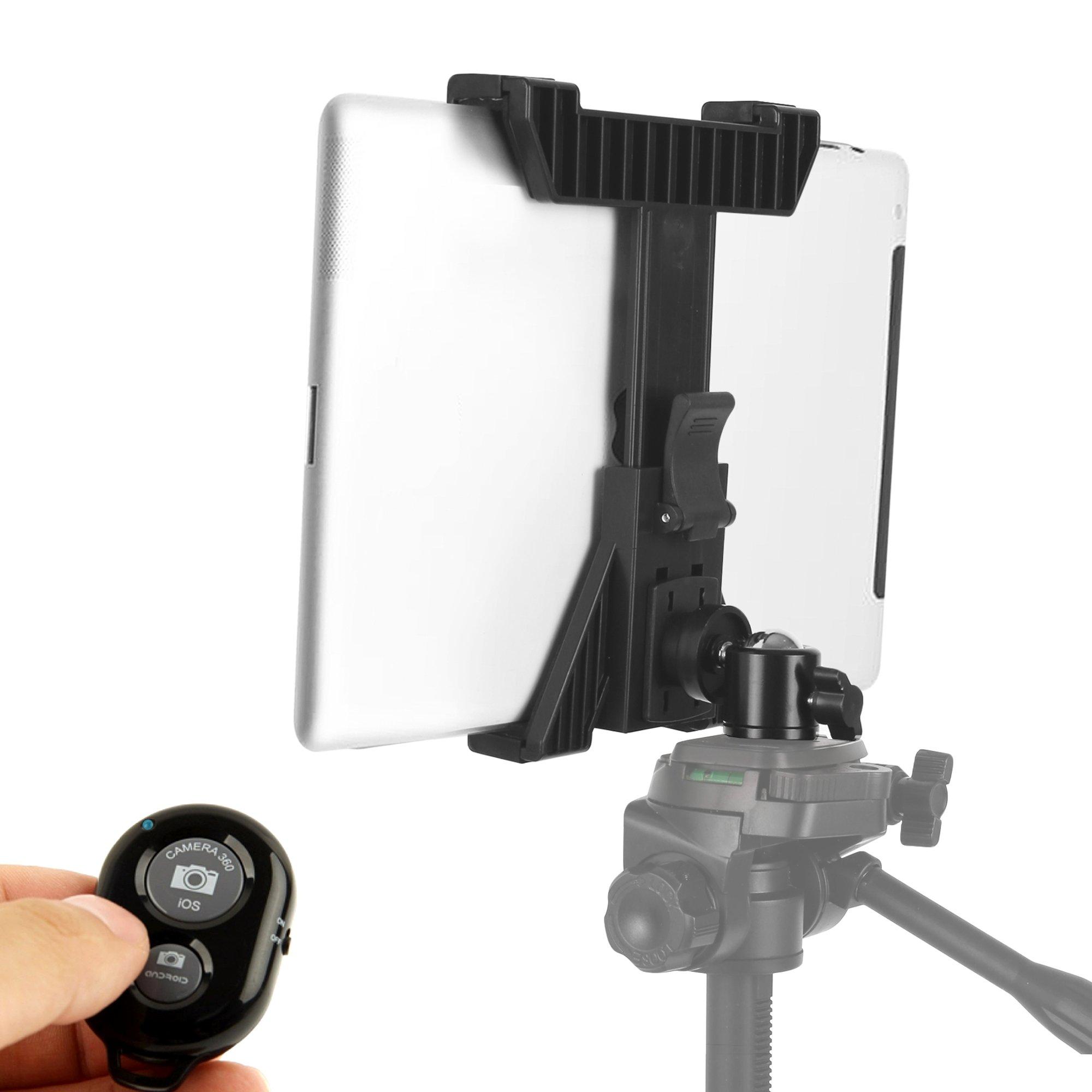 KobraTech iPad Tripod Mount - TabMount 360 - Tablet Tripod Mount with Ball Head & Bluetooth Remote Shutter
