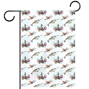 Watercolor Swordfish & Floral Anchor Garden Flag, Double Sided Garden Outdoor Yard Flags for Summer Decor 28x40 Inch