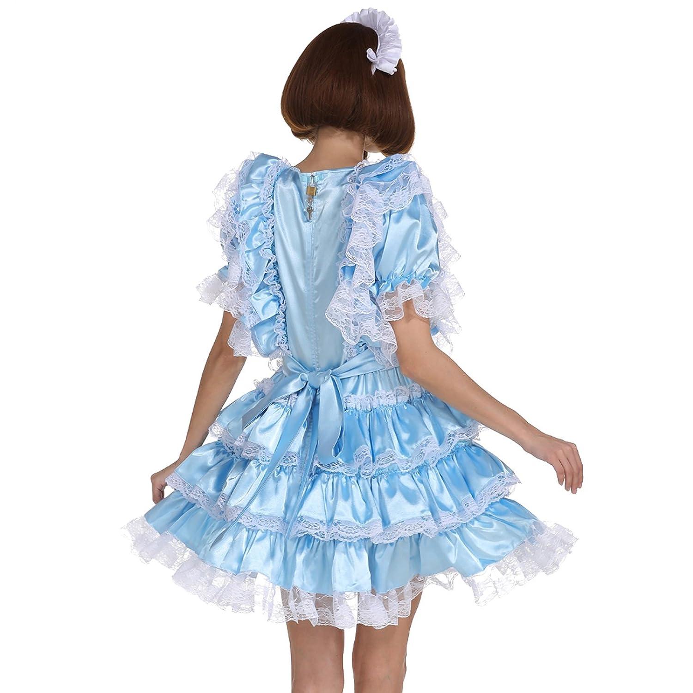 Amazon.com: GOceBaby Sissy Girl Maid Shiny Satin Lockable Dress ...