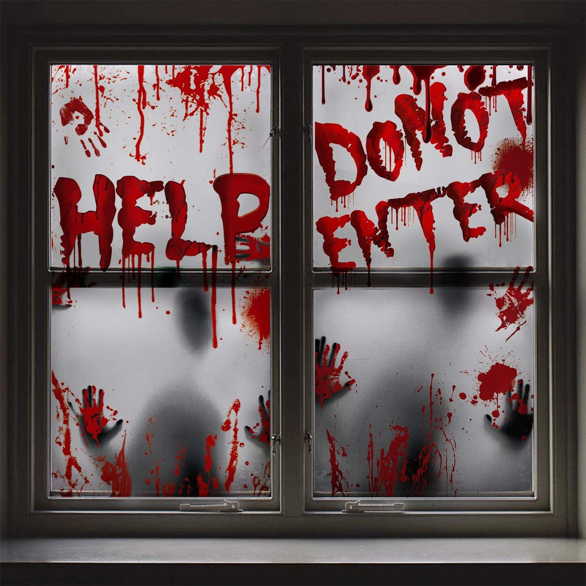 Amazon Com Halloween Giant Bloody Window Posters Window Clings 2pcs Scary Zombie Handprints Window Silhouette Party Decoration Haunted House Door Cove Creepy School Dormitory Indoor Outdoor Decorations Garden Outdoor,Harley Ann Wolf Christmas For Two