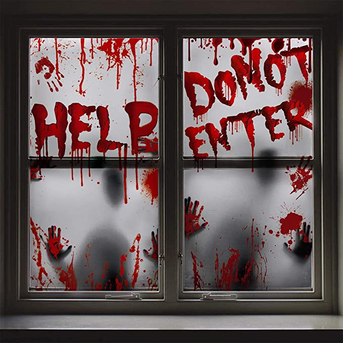 Amazon.com : Giant Poster Halloween Decoration - 2PCS Bloody Window Posters, House Indoor Blood Handprint & Shadowy Horrible Holiday Supplies-Do Not Enter : Garden & Outdoor