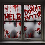 Giant Poster Halloween Decoration - 2PCS Bloody Window Posters, House Indoor Blood Handprint & Shadowy Horrible Holiday Suppl