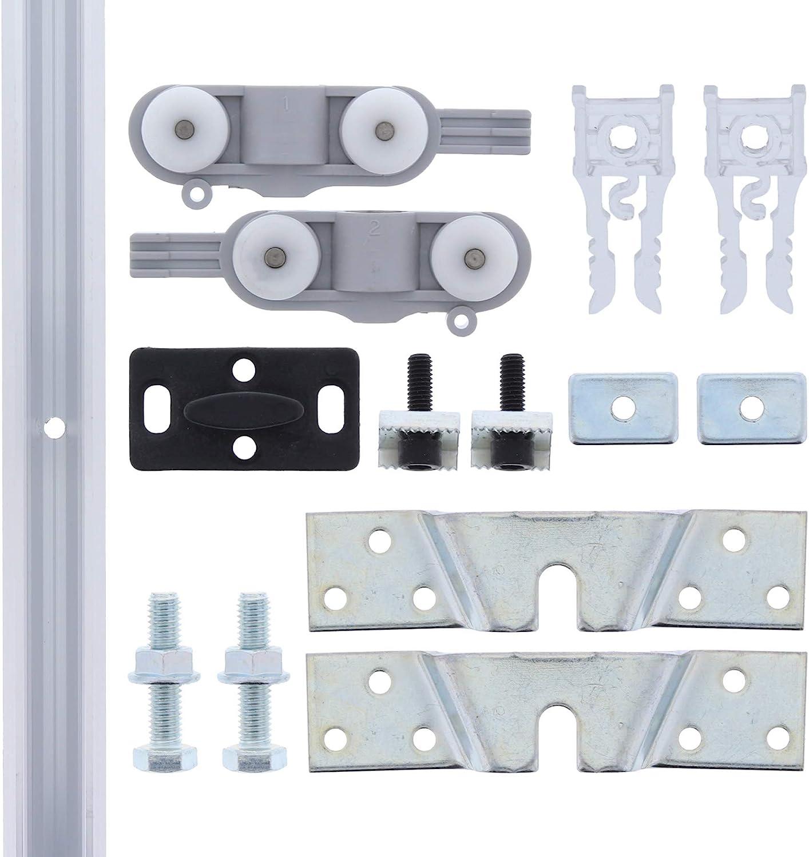 ToniTec – ® TT – Herraje para puerta corredera de cristal hasta 40 kg aluminio Carril: Amazon.es: Bricolaje y herramientas