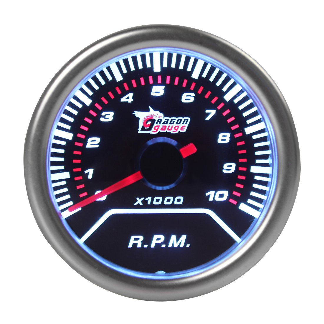 Tachometer Tach Gauge White LED for Auto Car Automobile 2' 52 mm 0~10000 RPM ePathChina®