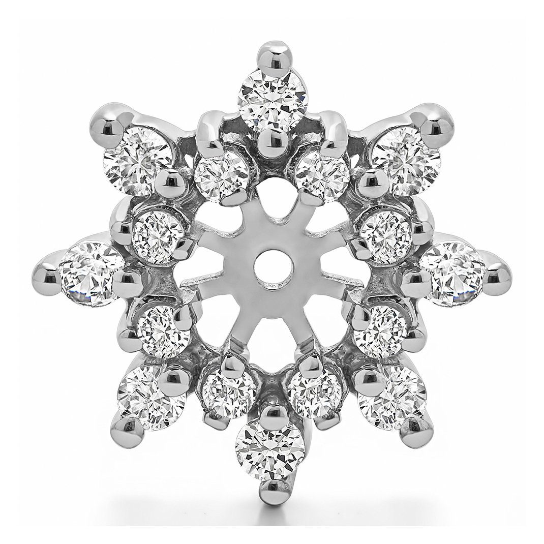 Star Flower Cubic Zirconia Rhodium Plated Sterling Silver Stud Earrings