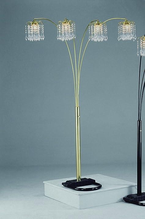 gold rain drop arc floor lamp by crown mark