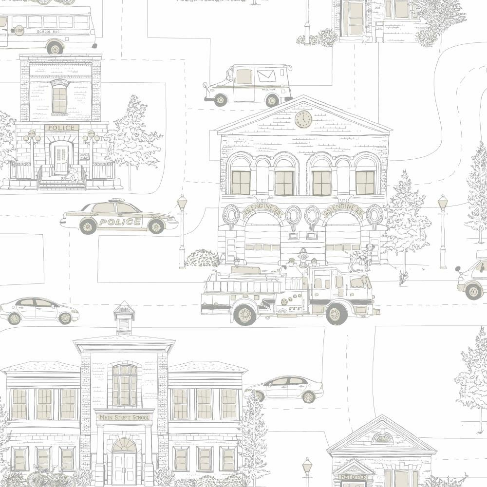 York Wallcoverings ZB3149SMP Boys Will Be Boys II Main Street 8-Inch x 10-Inch Memo Sample Wallpaper, Off White/Dove Gray/Steel Gray