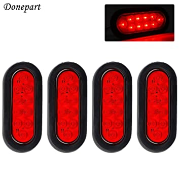 """8Pc New 6/"""" Clear Red Oval Turn Signal Parking LED Tail Light Truck Trailer"""