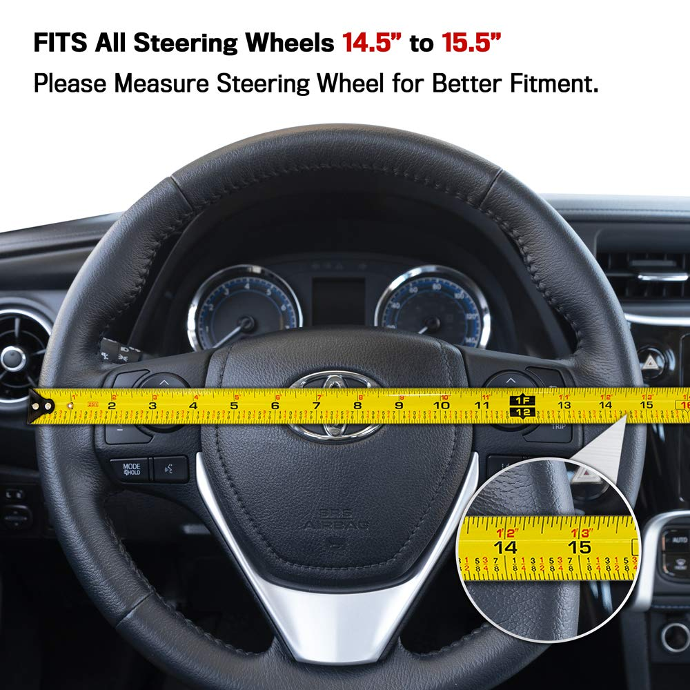 Universal Fit for Standard Wheel Sizes 14.5 15 15.5 inches Black Durable Anti-Slip Protector with Textured Finish carXS GripTech Carbon Fiber Steering Wheel Cover