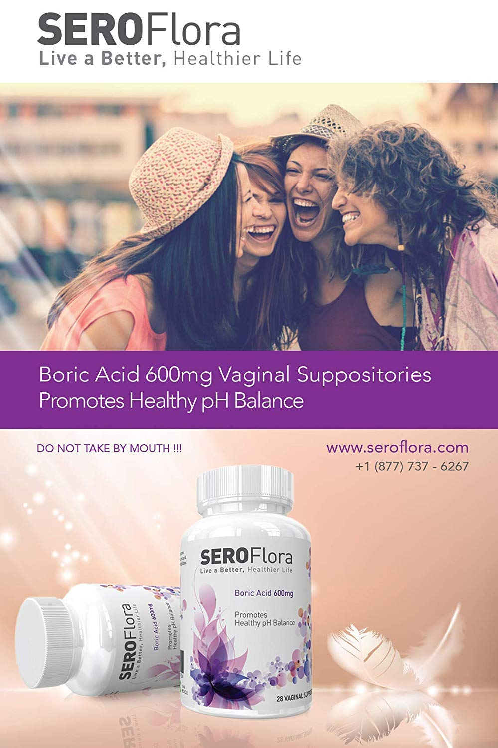 Boric Acid Vaginal Suppositories SEROFlora (60 Count) 600mg - pH Balance for Women - Yeast Infection Treatment - Made in USA