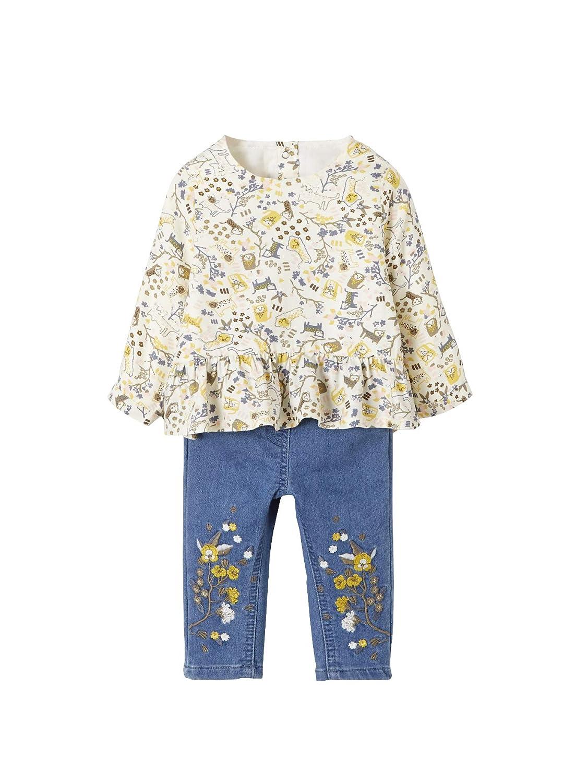 VERTBAUDET Ensemble bébé fille blouse imprimée jaguar et jean molleton Imprimé/denim 3M - 60CM