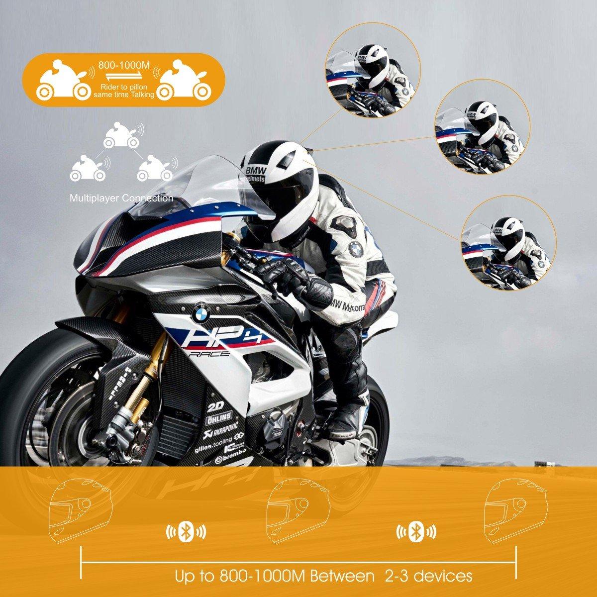Motorcycle Intercom Bluetooth Helmet Headset 1 Pack Veetop 1000M ...