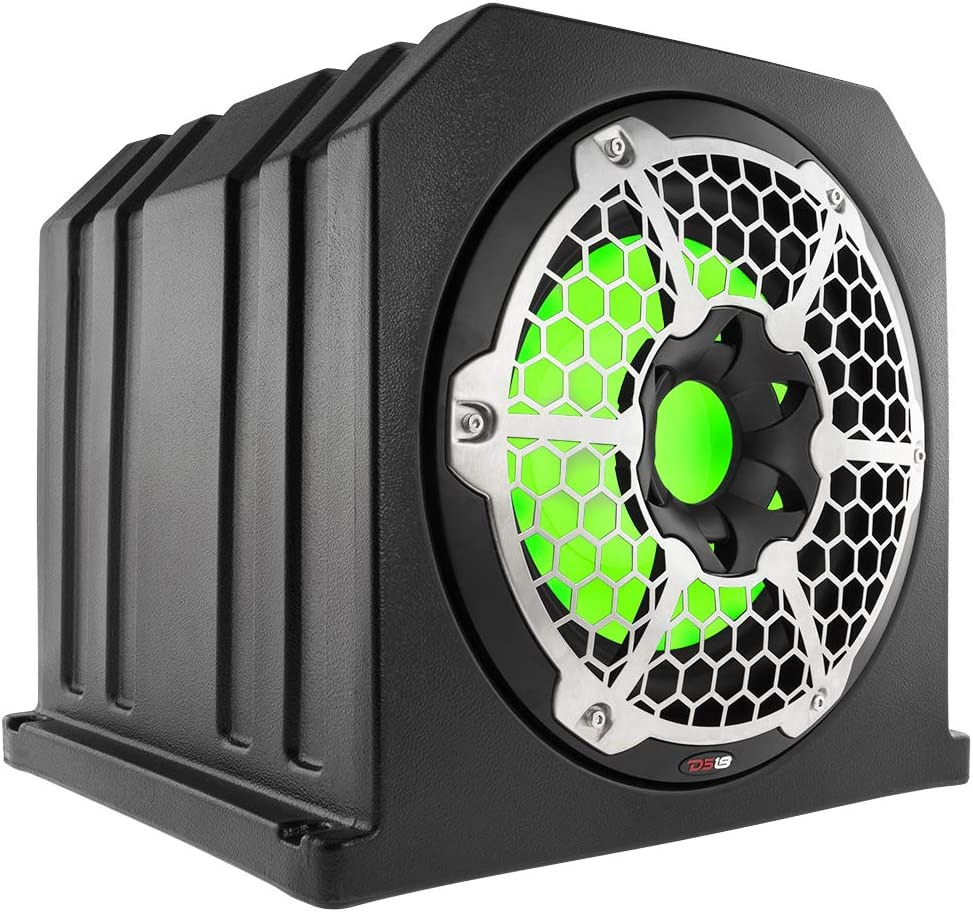 Black Integrated LED Lightening DS18 NXL10SUB-LD//BK 10 700 W IP65 Marine Subwoofer Compact Ported Enclosure with A Reflex On The Back for Bass Boost