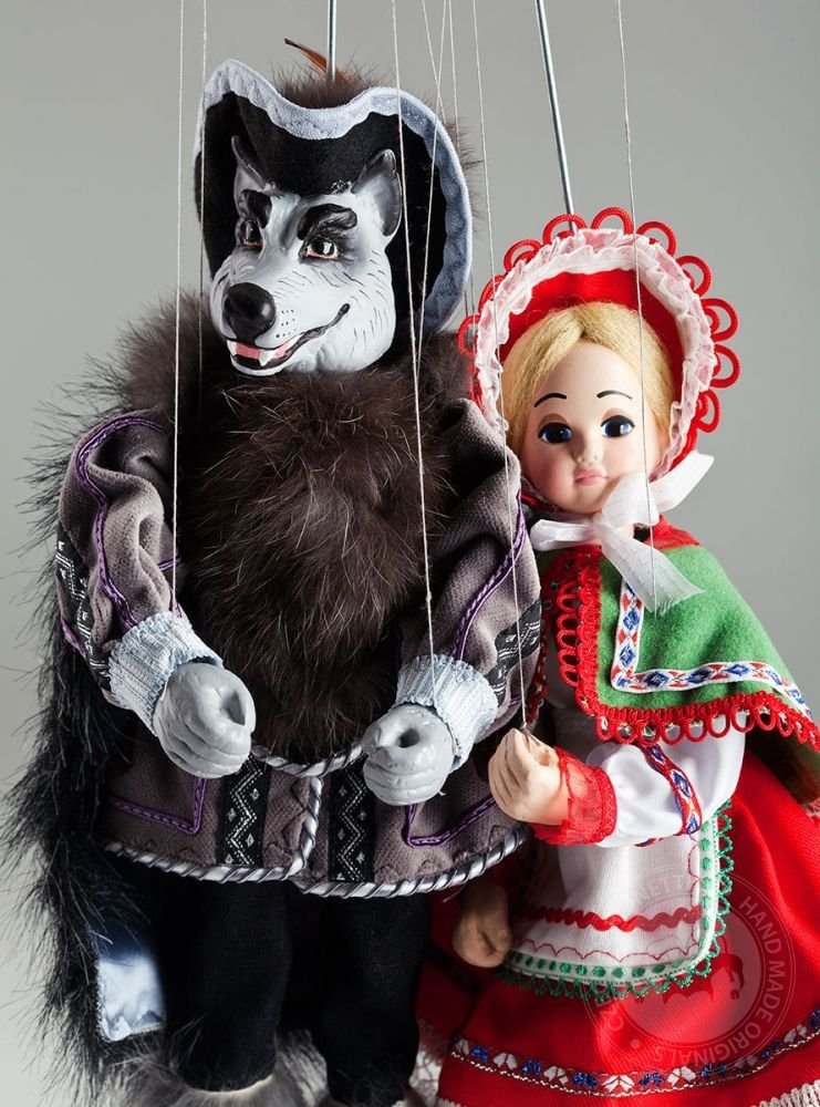 Little red Riding Hood and Wolf Marionettes - Czech Handmade String Puppets