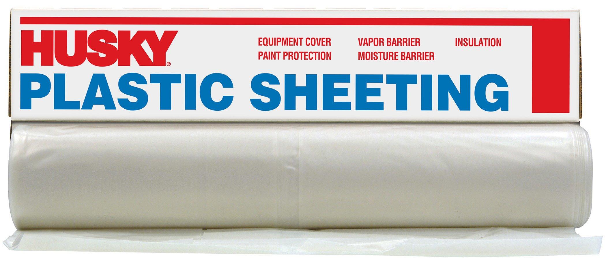 Husky CF0420-50C 4 ML Tyco Polyethylene Opaque Plastic Sheeting, 20' x 50', Clear