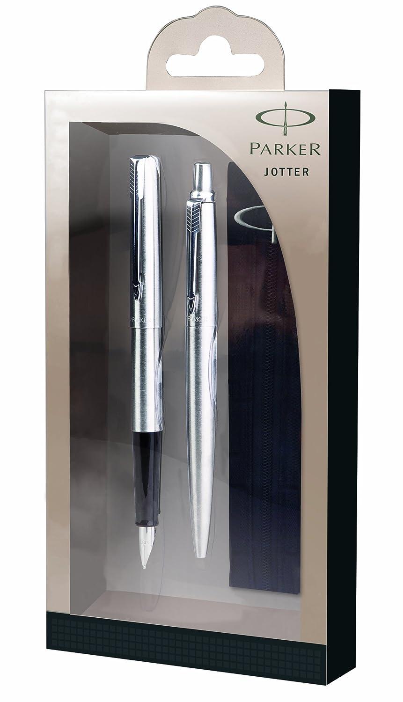 Parker Jotter Stylo /à bille en acier inoxydable//garniture chrom/ée Stylo plume et boule de stylos avec /étui/ /Bo/îte Cadeau