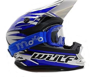 Casco de moto para adulto azul con gafas. Para motocross, ATV