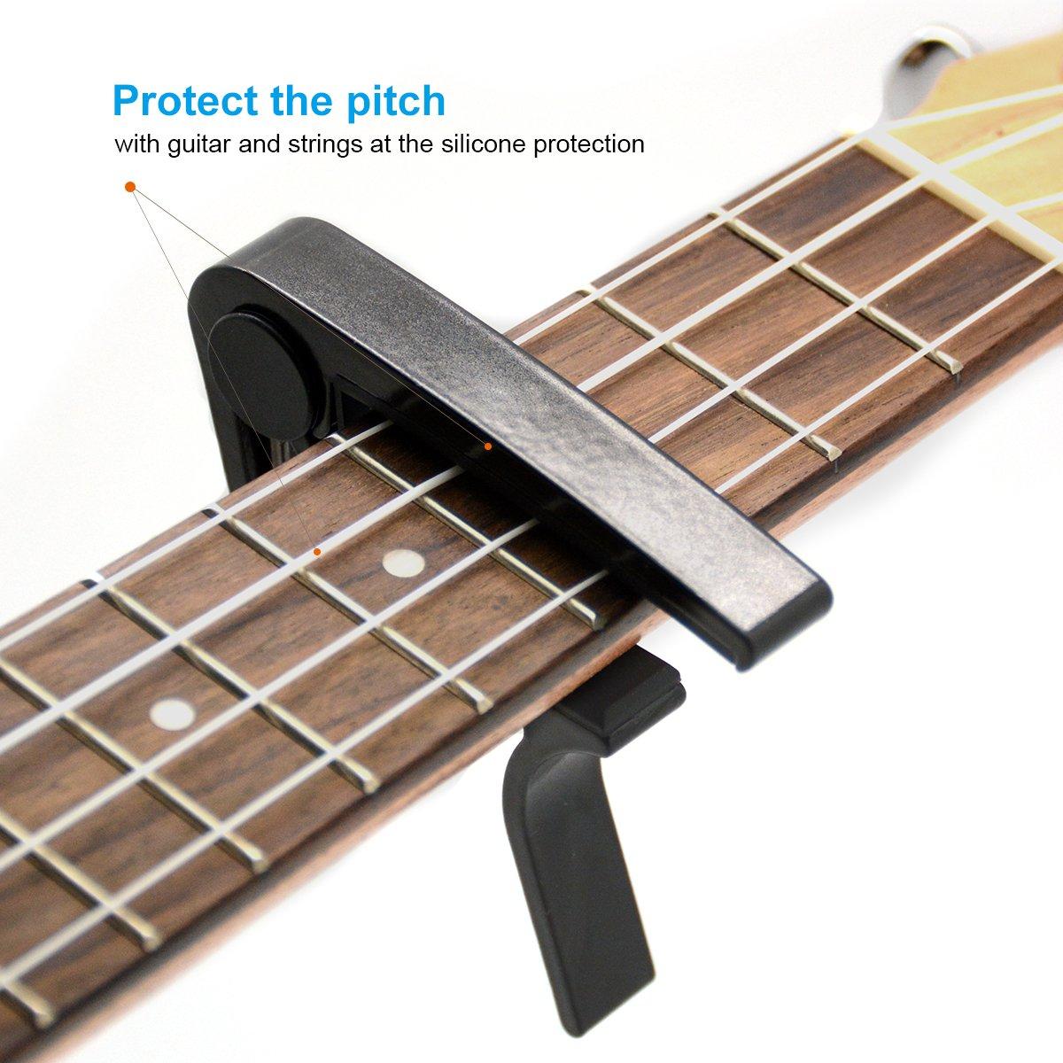 BestSounds - Cejilla para guitarra acústica y eléctrica de 6 cuerdas, también para ukelele, banjo, bajo y mandolina, negro: Amazon.es: Instrumentos ...