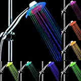 PISSION Color Changing Showerhead Handheld LED 3 Water Mode 7 Color Glow Light Automatically Changing