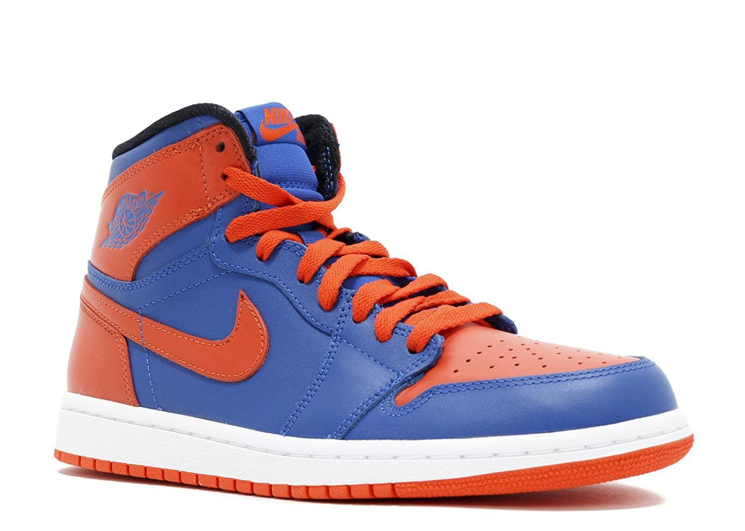 s Air Jordan 1 Retro Hoch OG Knicks Leder-Basketball-Schuhe  9|Game Royal, Team Orange-gm Ryl