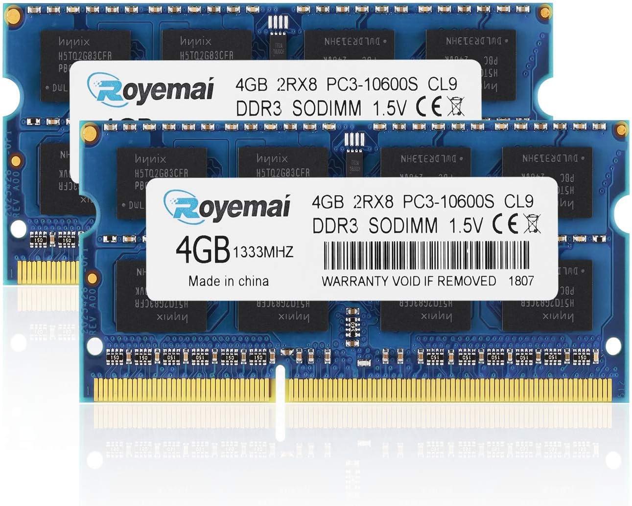 PC3-10600, DDR3 1333, ROYEMAI 8GB DDR3 Kit (2x4GB) RAM DDR3 PC3 10600S DDR3 8GB 2Rx8 204-pin 1333MHZ DDR3 1.5v 4GB DDR3 RAM Memory Upgrade for Laptop