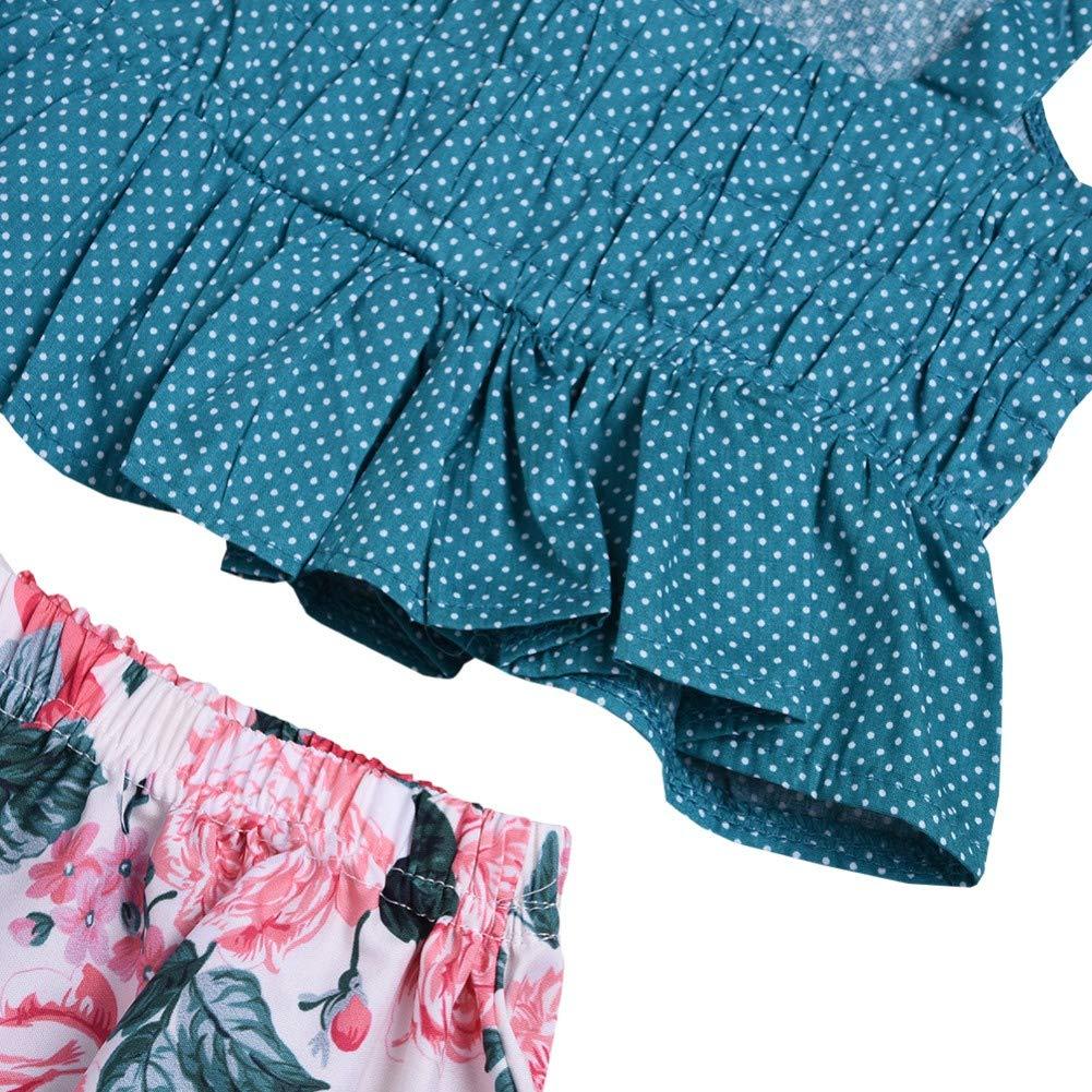 Little Girls Polka Dot Print Shoulder Straps Tops Shirts Floral High Low Skirts