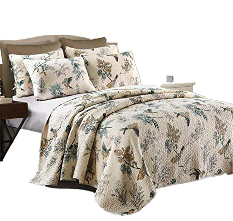 Newrara Birds Printing Comforter Sets, American Country Queen Quilt  Set/Bedspread 100% Cotton,Beige 3Pcs